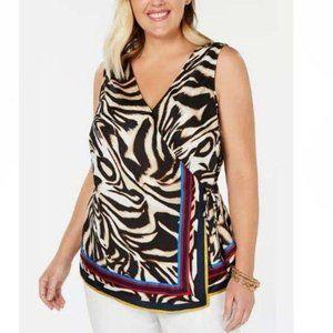 NWT INC Plus Size 2X Tiger-Print Wrap Top